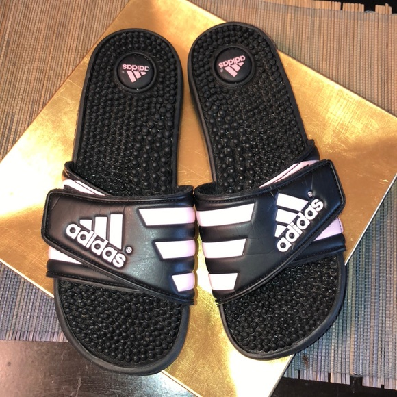 e268c0246 adidas Shoes - 🖤Adidas Three Stripes Black   Light Pink Slides